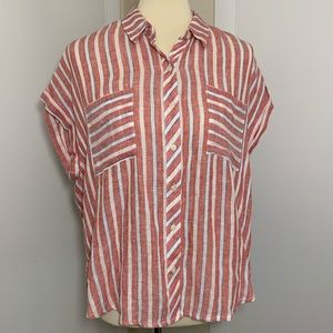 Lucky Brand Split Back Button Up Top
